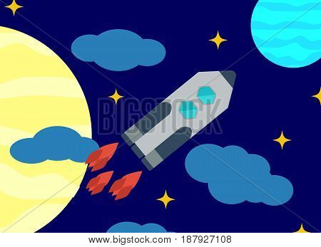 Space vector image or background. Launch missiles against the background of the sky and celestial bodies. Flat design