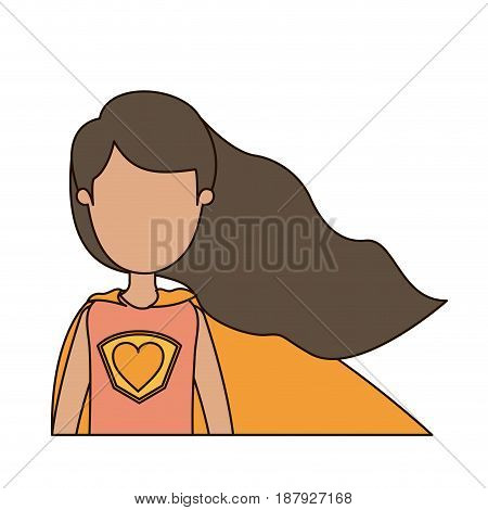 colorful caricature faceless half body super hero woman with wavy long hair vector illustration