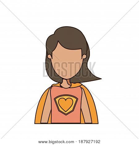 colorful caricature faceless half body super woman with short hair vector illustration