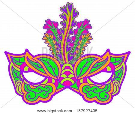 Multicolor carnival mask with feathers isolated on white. Element for Mardi Gras. Vector illustration
