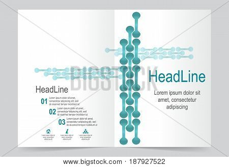 Green Cover template background flyer design. Abstract template for annual business report poster