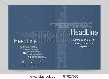 Navy Blue Cover template background flyer design. Abstract template for annual business report poster