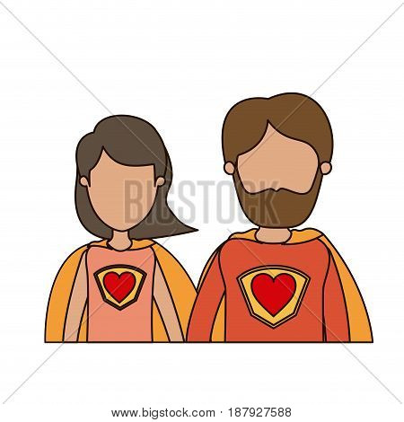 colorful caricature faceless half body couple parents super hero with heart symbol in uniform vector illustration