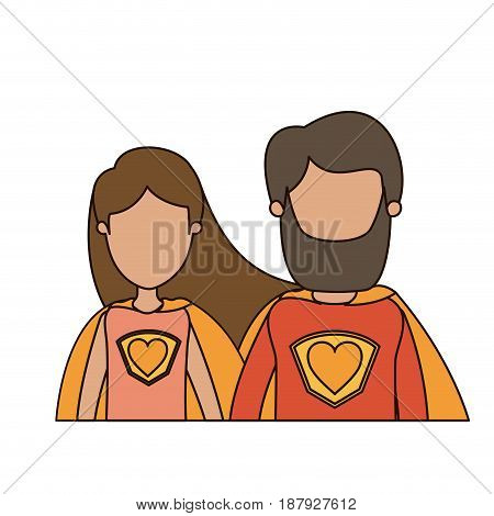 colorful caricature faceless half body couple female and male super hero with heart symbol in uniform vector illustration