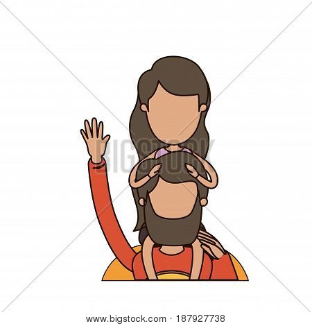 colorful caricature faceless half body super dad hero greeting with girl on his back vector illustration