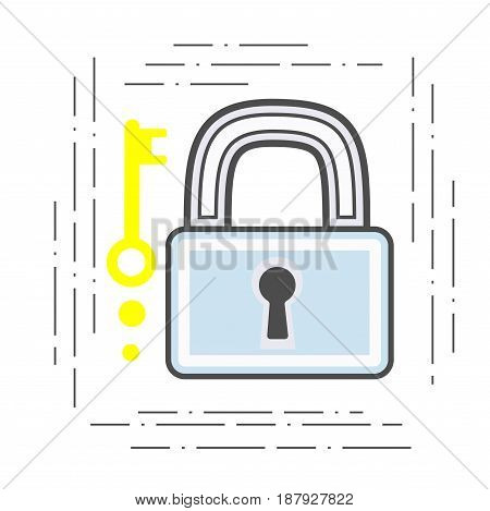 close padlock and key modern illustration. Flat line icon safety.