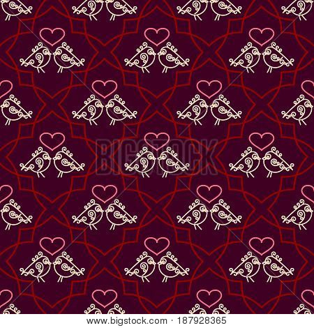 Valentines Day seamless pattern with couples birds and hearts. Trendy linear design of love symbols. Juicy rich background. Vector illustration