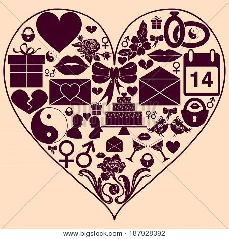 Heart shape with St. Valentine Day icons. Background to the day of lovers. Vector illustration
