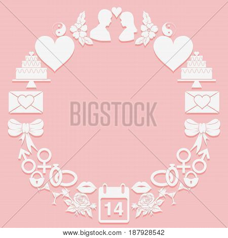 St. Valentine Day round frame icons on a pink background. The shape a ring. Vector illustration