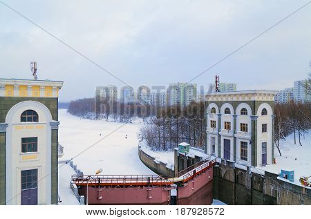 Beautiful sluice and water reservoir on the Moscow River in winter