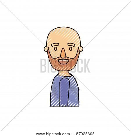 color crayon stripe caricature side view bald man bearded with t-shirt vector illustration