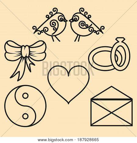 Set valentines day design elements of the outline. Vector illustration