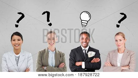 Digital composite of Business people with question mark and light bulb signs
