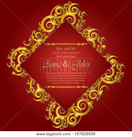 Invitation card Wedding card with ornament on red background