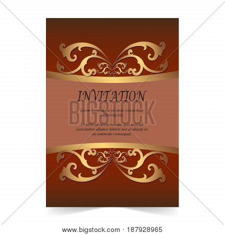 Invitation card Wedding card with ornament on dark red background