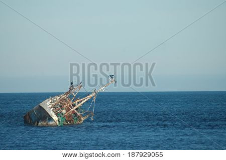 Shipwreck in the North Sea, Aberdeenshire, Scotland
