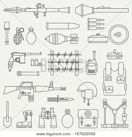 Line flat vector military icon set. Army equipment and weapons. Cartoon style. Army. Assault. Soldiers. War. Retro. Armament. Ammunition. Vector illustration and element for your design , wallpaper