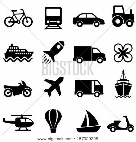 Air water land mode of transportation icon set