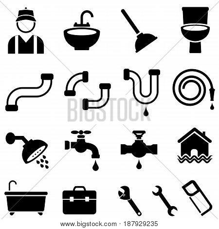 Kitchen bathroom and house plumbing icon set