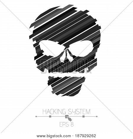 Hacking hacking system. Skull symbol on white background. The destroyed skull from the black strips. The effect of destruction. Abstract vector illustration. EPS 8