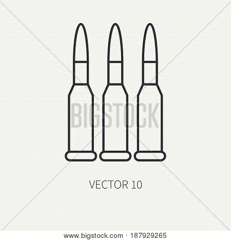 Line flat vector military icon - ammunition , ammo. Army equipment and weapons. Army. Assault. Soldiers. Armament. Retro. Cartoon style. Vector illustration and element for your design , wallpaper