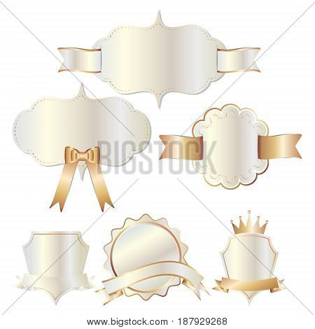 Set of white gold badges label and ribbon Greeting card vector tag illustration