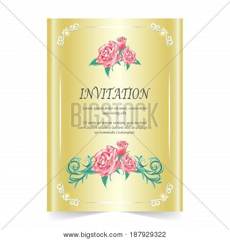 Wedding care Invitation card with rose on gold background