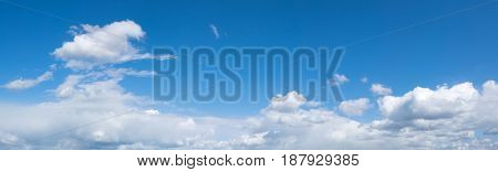 Sky with clouds panorama. Summrt blue sky background