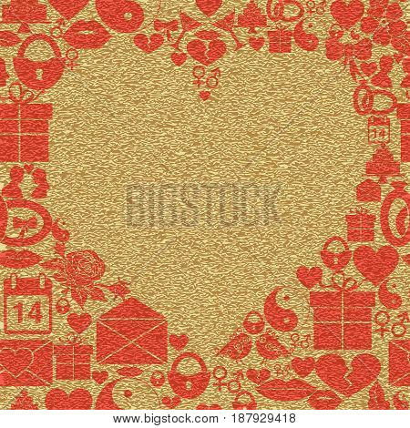 Background Valentines Day. Frame in the shape of a heart on a textured background. Vector illustration