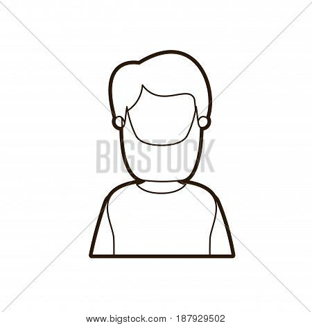 black thick contour caricature faceless half body bearded man vector illustration