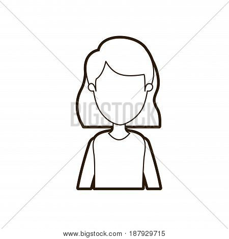 black thick contour caricature faceless half body woman with short hairstyle vector illustration