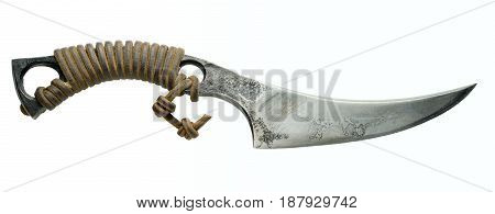 hunter combat hand made knife with leather handle isolated on white background