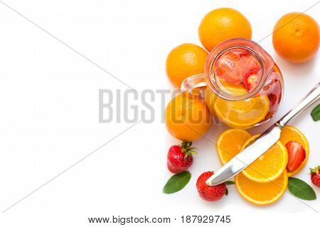Strawberries, Oranges And Mint For A Drink .