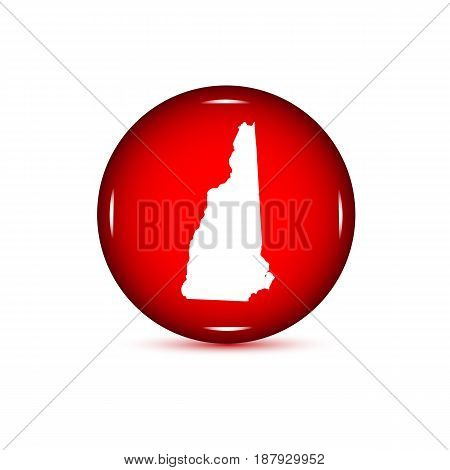 Map of the U.S. state of New Hampshire. Red button on a white background.