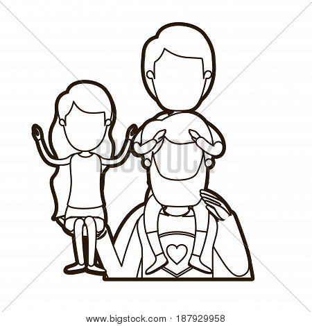 black thick contour caricature faceless half body super dad hero with girl on his hand and boy on his back vector illustration