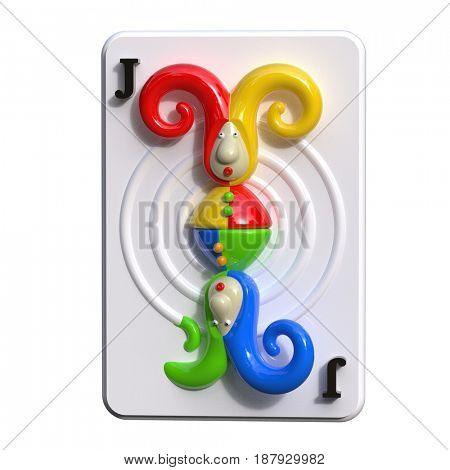 joker playing card, 3d render