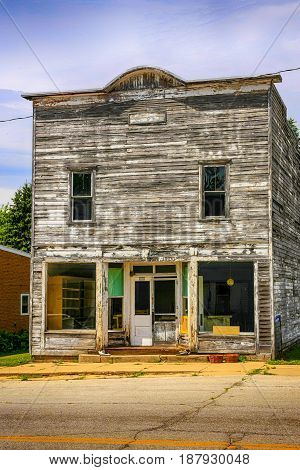 Kingston, WI, USA - 07/ 28/2015: Small town Store in Kingston Wisconsin. As with many places in America ghost towns are all that remains of once thriving communities.