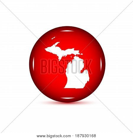 Map of the U.S. state of Michigan. Red button on a white background.