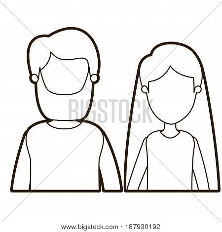 black thick contour caricature faceless front view half body couple woman with long hair and bearded man vector illustration