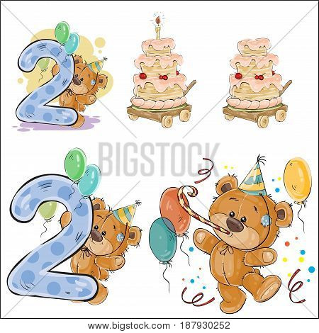 Set of vector illustrations with brown teddy bear, birthday cake and number 2, prints, templates, design elements for greeting cards, invitation cards, postcards
