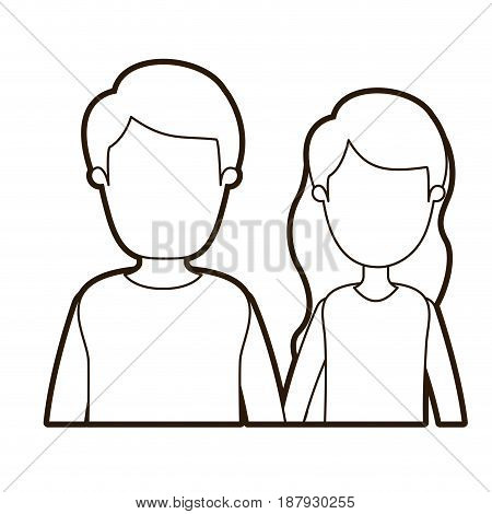 black thick contour caricature faceless half body couple woman with long wavy hair and man vector illustration
