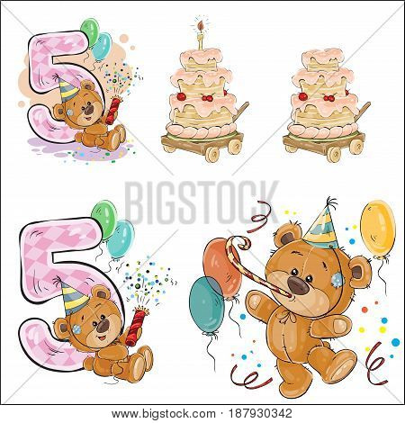 Set of vector illustrations with brown teddy bear, birthday cake and number 5. Prints, templates, design elements for greeting cards, invitation cards, postcards