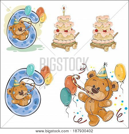 Set of vector illustrations with brown teddy bear, birthday cake and number 6. Prints, templates, design elements for greeting cards, invitation cards, postcards