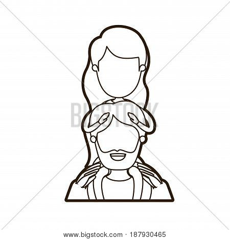 black thick contour caricature faceless half body bearded father with girl on his back vector illustration