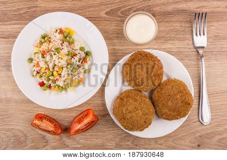 Plates With Vegetable Mix, Fried Cutlets, Bowl With Mayonnaise, Tomatoes