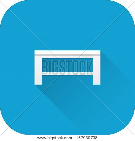 Coffee table icon. Vector. Flat design with long shadow. White furniture isolated on blue background.