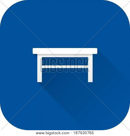 Coffee table icon. Flat design with long shadow. Vector. White table isolated on blue background.