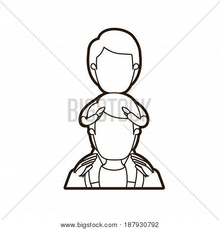 black thick contour caricature faceless half body young father with boy on his back vector illustration
