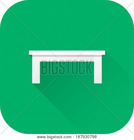 Coffee table icon. Vector. Flat design with long shadow. White furniture isolated on green background.