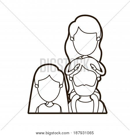 black thick contour caricature faceless front view half body family parents with girl on his back vector illustration